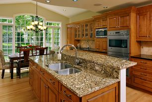 Traditional Kitchen with High ceiling, Kitchen island, Pendant light, Horizontal natural, click lock bamboo flooring, Flush
