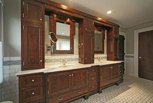 Craftsman Master Bathroom with Complex marble counters, Built-in bookshelf, Master bathroom, Undermount sink, Double sink