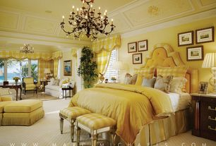 Traditional Master Bedroom with Chandelier, Carpet, Built-in bookshelf, High ceiling, Crown molding