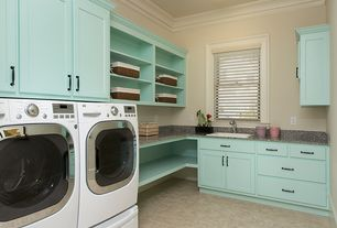 Traditional Laundry Room with Drop-in sink, Crown molding, Standard height, laundry sink, Concrete tile , double-hung window