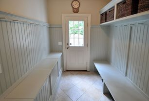 Cottage Mud Room with Marlite Supreme Wainscot HDF Tongue and Groove Beadboard Panel (Discontinued), Built-in bookshelf
