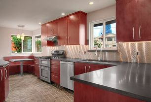 Contemporary Kitchen with Flush, can lights, Undermount sink, Slate counters, Wall Hood, full backsplash, Standard height