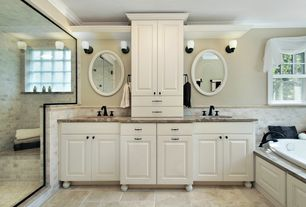 Traditional Master Bathroom with Double sink, Shower, frameless showerdoor, Undermount sink, Wall Tiles, Stained glass window