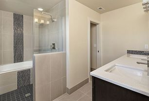 Contemporary Full Bathroom with Rain shower, Double sink, tiled wall showerbath, Simple granite counters, Ceramic Tile