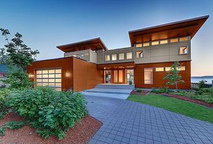 Contemporary Exterior of Home with Single car garage, Paint 2, Waterfront, Paint, Two-story