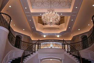 Traditional Staircase with Double staircase, Hardwood floors, can lights, Loft, Wainscotting, Cathedral ceiling