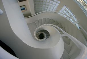 Modern Staircase with Carpet, Cathedral ceiling, Stained glass window, Spiral staircase