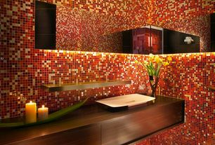 Contemporary Master Bathroom with Red 12 in. x 12 in. x 10 mm polished onyx mesh-mounted mosaic tile