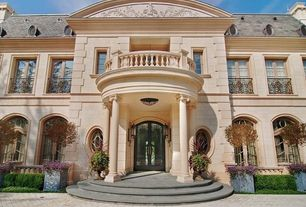 Traditional Front Door with Arched window, French doors, exterior tile floors