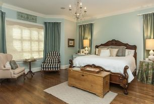 Traditional Master Bedroom with Chandelier, Hardwood floors, Pottery Barn Stark Home Custom Diamond Rug, Crown molding