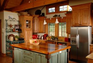 Country Kitchen with Complex Granite, U-shaped, Wall sconce, Flat panel cabinets, Wood counters, Glass panel, High ceiling