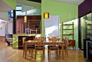 Modern Dining Room with High ceiling, Hardwood floors, Pendant light