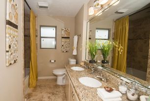 Modern Full Bathroom with stone tile floors, Daltile santa barbara pacific sand 12 in. x 12 in. ceramic floor and wall tile