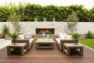 Contemporary Deck with Restoration Hardware French Beam Weathered Teak Side Table, Fence, Raised beds, outdoor pizza oven