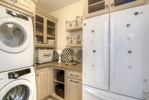 Laundry Room with Drop-in sink, Drying Rack, Built-in bookshelf, Standard height