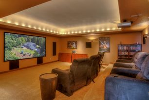Contemporary Home Theater with Bongo drum end table, Built-in bookshelf, Carpet, High ceiling, Wall sconce