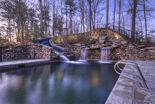 Rustic Swimming Pool with Fence, Pathway, Fountain, exterior stone floors