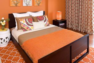 Contemporary Guest Bedroom with Standard height, Hardwood floors