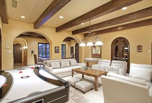 Contemporary Living Room with Pendant light, Exposed beam, Chandelier, Columns, Rissanti Pen Club Accent Chair - Ivory