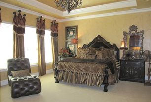 Traditional Master Bedroom with Furniture of america angelica english style brown cherry platform be, Carpet, Chandelier
