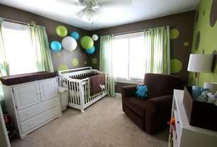 Contemporary Kids Bedroom with Carpet, Mural, Standard height, no bedroom feature, Casement, Ceiling fan