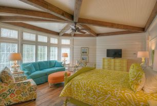 Cottage Master Bedroom with Crown molding, Classic House Valbonne Panelled Bed Frame, Hardwood floors, Exposed beam