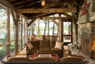 Rustic Porch with Screened porch, Transom window, picture window, French doors, outdoor pizza oven