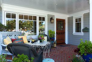 Craftsman Porch with Dutch door, exterior brick floors, Diagonal brick herringbone, Screened porch