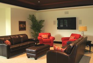 Modern Living Room with Palatial Furniture Carrington Leather Sofa, Crown molding, Carpet, High ceiling