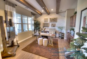 Eclectic Home Office with interior wallpaper, Exposed beam, Built-in bookshelf, Hardwood floors