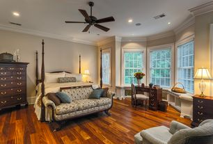 Traditional Master Bedroom with Window seat, Ceiling fan, Hardwood floors, Crown molding