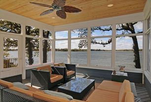 Modern Porch with Screened porch, Transom window, Glass panel door, Natural wood ceiling, Pathway