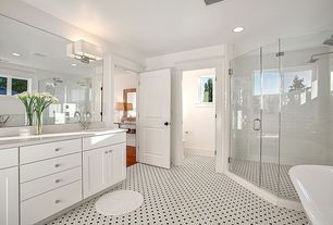 Traditional Full Bathroom with Wall sconce, Simple marble counters, specialty door, frameless showerdoor, Simple Marble