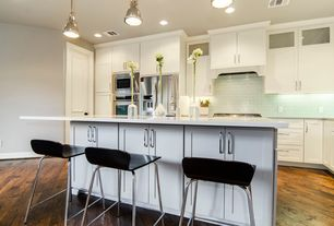 Modern Kitchen with L-shaped, Flush, Simple marble counters, Breakfast bar, Flat panel cabinets, Oaglow 2 light blue tile