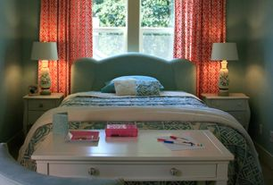 Traditional Guest Bedroom with Chandelier, Standard height, double-hung window, Art desk, Carpet