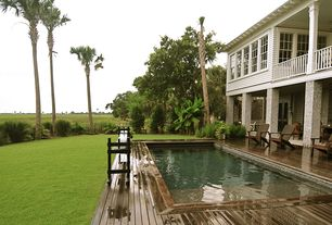 Traditional Swimming Pool with Fence, Lap pool, French doors, Pathway