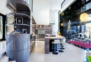 Modern Great Room with Pendant light, High ceiling, Built-in bookshelf, simple marble tile floors