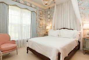 Traditional Guest Bedroom with Chandelier, Carpet, interior wallpaper, Wall sconce, double-hung window, Standard height