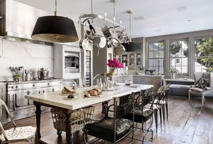 Contemporary Kitchen with Breakfast bar, Raised panel, Complex marble counters, L-shaped, Hardwood floors, Kitchen island