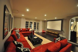 Modern Home Theater with Crown molding, Standard height, French doors, Hardwood floors, can lights, Paint