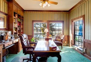 Traditional Home Office with Built-in bookshelf, Crown molding, Carpet, interior wallpaper