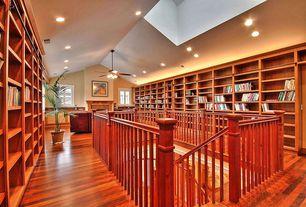 Craftsman Hallway with Hardwood floors, Cathedral ceiling, Ceiling fan, Loft, Casement, can lights, Built-in bookshelf