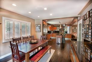 Eclectic Great Room with Laminate floors, French doors