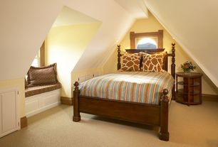 Eclectic Guest Bedroom with Built-in bookshelf, Carpet, Cathedral ceiling, Window seat