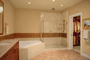 Modern Master Bathroom with Wall sconce, Handheld showerhead, Frameless, Master bathroom, terracotta tile floors, Rain shower