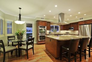 Craftsman Kitchen with Stone Tile, Raised panel, Undermount sink, Ms International Juparana Arandis Granite, L-shaped