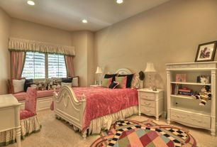 Eclectic Kids Bedroom with Standard height, Window seat, specialty window, can lights, Carpet, no bedroom feature