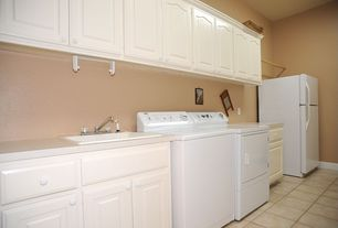 Traditional Laundry Room with Farmhouse sink, Daltile Sierra Vail Ceramic Floor & Wall Tile, Concrete tile
