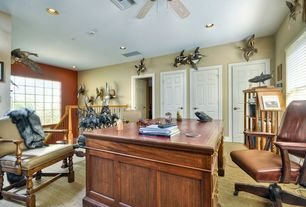 Traditional Home Office with High ceiling, Casement, Carpet, Ceiling fan, six panel door, can lights