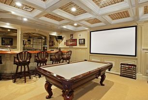 Traditional Game Room with Box ceiling, Wainscotting, Carpet, Crown molding